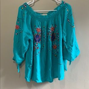 Teal Embroidered Grand & Greene XL Flowy Shirt